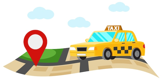 Автомобиль такси едет по визитной карточке на белом.