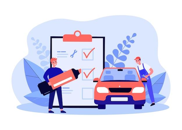車の技術検査フラットベクトルイラスト。所有者が巨大なリストのアイテムをマークしている間、漫画の従業員が車を修理または検査しています。バナーデザインの診断、修理、メンテナンスの概念