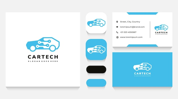 Car technology and electronics logo template and business card