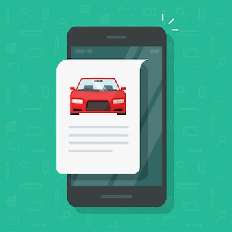 Car text info repot and instruction document online web page on mobile phone or smartphone automobile history description