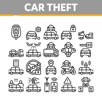 Car theft collection elements icons set