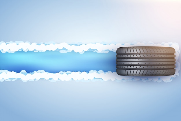 Автомобильная шина на снегу и льду