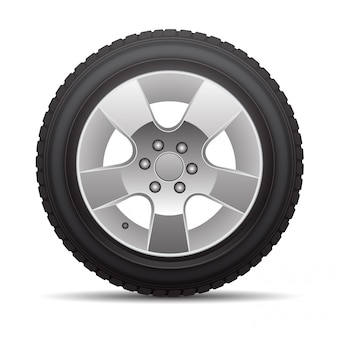 Car tire radial wheel metal alloy on isolated