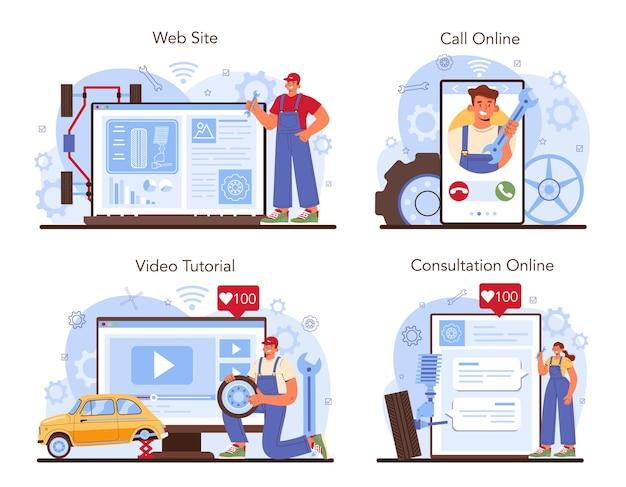 자동차 타이어 서비스 온라인 서비스 또는 플랫폼 세트. 타이어를 교체하는 작업자