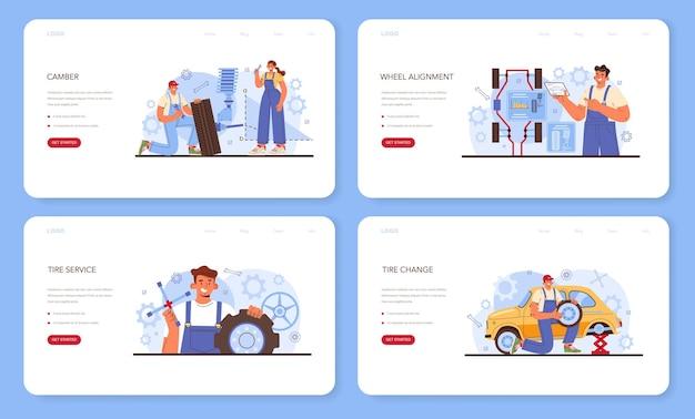 자동차 타이어 서비스 웹 배너 또는 방문 페이지 집합입니다. 타이어를 교체하는 작업자