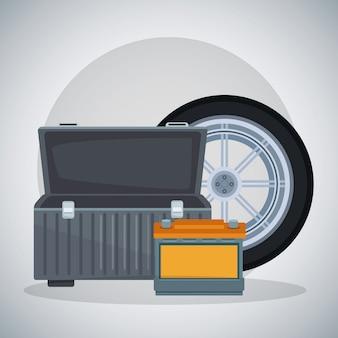 空のツールボックスとバッテリー付き車のタイヤ