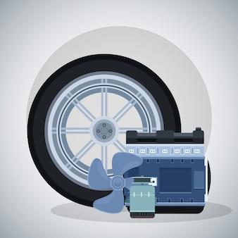 Автомобильная шина с двигателем и пропеллером