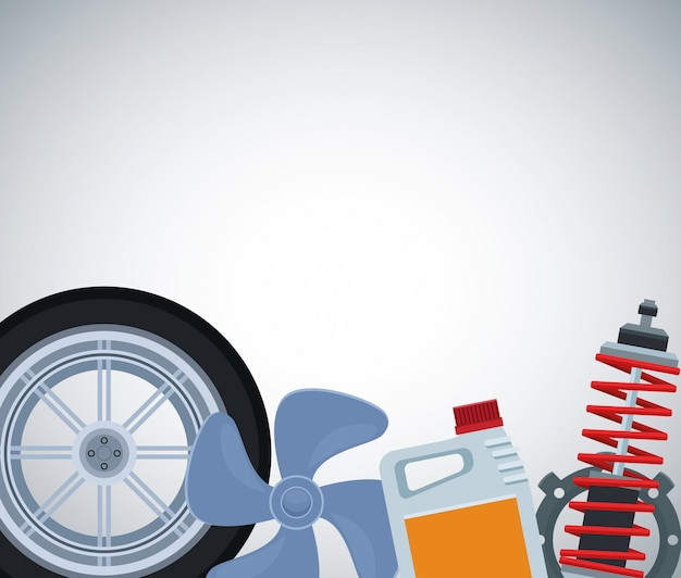 Car tire with propeller, oil bottle and shock absorber