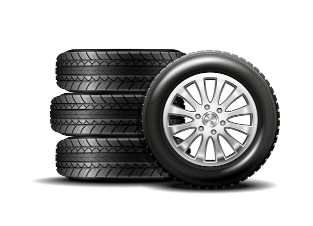 Автомобильные шины на белом