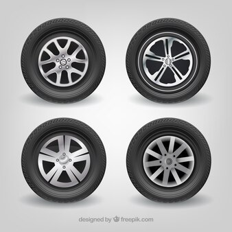 Car tires Mercedes-Benz realistic vector set