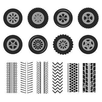 Car tires and track traces isolated