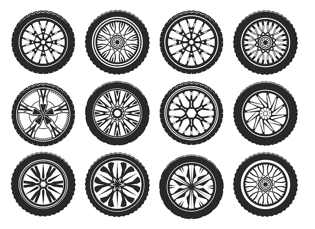 Car tires with different light alloy wheel rims.