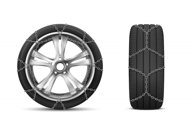 Car tires with snow chains for winter road