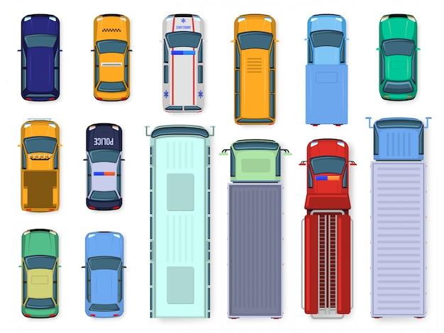 車のトップビュー。路上車両エンジンの屋根の表示、交通車、市バス、救急車、トラック、公共および民間輸送のイラストセット。上から異なる車を着色する