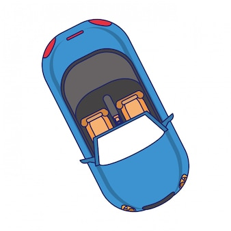 Car topview vehicle isolated