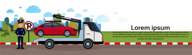 Car in towing away zone of parking vehicle evacuation view horizontal banner