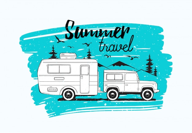 Car towing caravan trailer or camper against mountains and spruce trees on background and summer travel lettering. vehicle for wild nature adventure trip or seasonal camping. illustration.