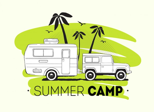 Car towing caravan trailer or travel camper against palm trees on background and summer trip lettering. recreational vehicle for road journey or seasonal camping.