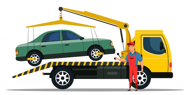 Premium Vector | Car towing truck and road side assistance service