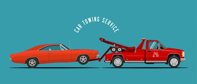 Car towing truck service  with towing truck and car.