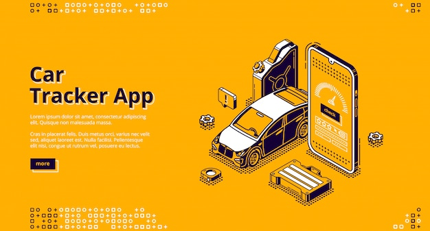Car tracker app isometric landing page gps service
