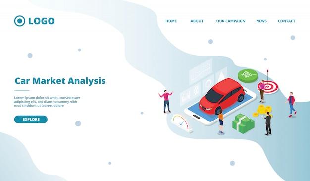 Торговля автомобилями занята сделкой между продавцом и потенциальным покупателем в современном плоском мультяшном стиле