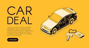 Car trade deal illustration of automotive sell and buy service agency or dealer company.