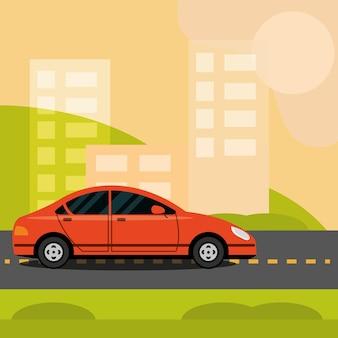 Автомобильное движение на городской улице шоссе, городской транспорт иллюстрации