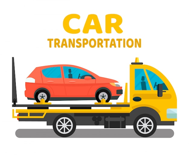 Car transportation business flat banner layout