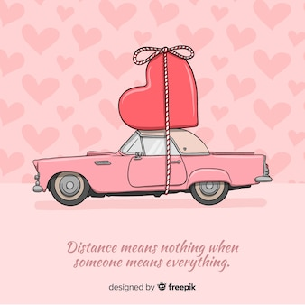 Car transporting heart valentine background