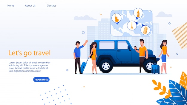 Car travel agency and carshare service landing page.