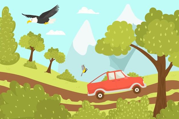 休暇中の車の旅は道路ベクトルイラストで休む夏の土地での休暇旅行の観光旅行...