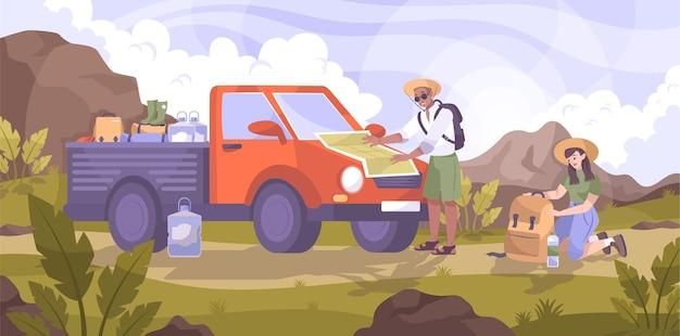Composizione piana in viaggio in auto con un piccolo camion e un gruppo di personaggi di viaggiatori nell'illustrazione dell'ambiente del paesaggio di montagna