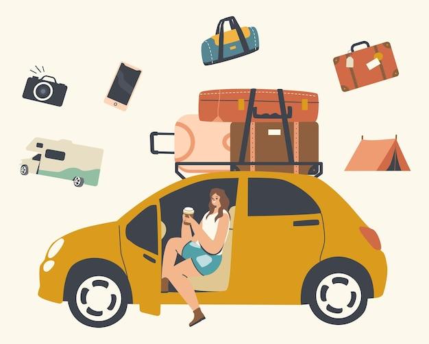 자동차 여행, 여행, 모험. 행복 한 여성 캐릭터는 지붕에 짐과 함께 자동차에 앉아.