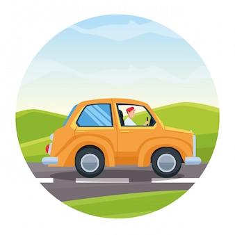 Car travel and riding cartoon