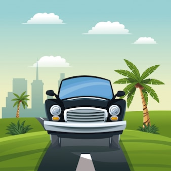 Car travel vacation road landscape city background