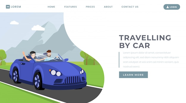 Car traveling landing page vector template