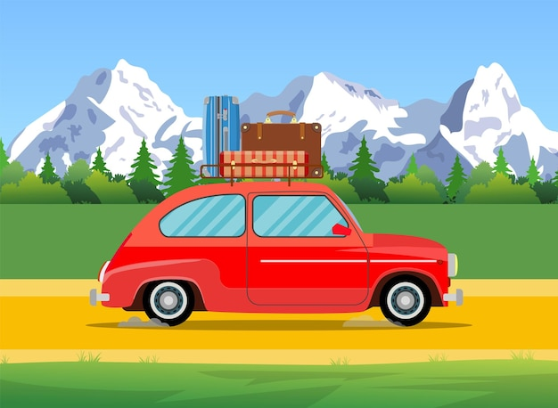 Car trip to camp, tourism concept.