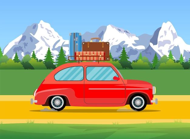 キャンプへの車での旅行、観光のコンセプト。