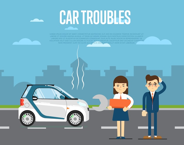 Car troubles concept with people