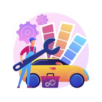 자동차 튜닝 추상적 인 개념 그림입니다. 레이싱 카 터보 튜닝, 자동차 정비소, 차량 음악 업그레이드, 자동차 스타일 및 디자인, 스포츠카 수리 서비스.