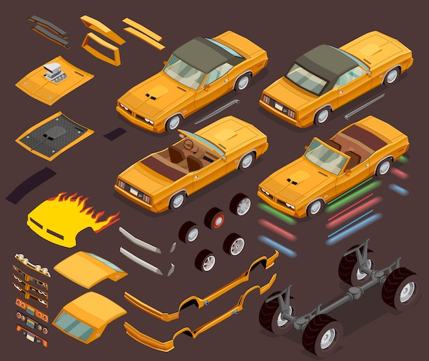 Car tuning snyling parts isometric set