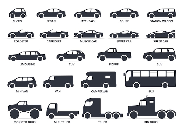Car type icons set vector black icon isolated variants of model automobile body silhouette