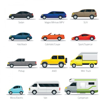 Car types and models objects set, automobile, multicolor