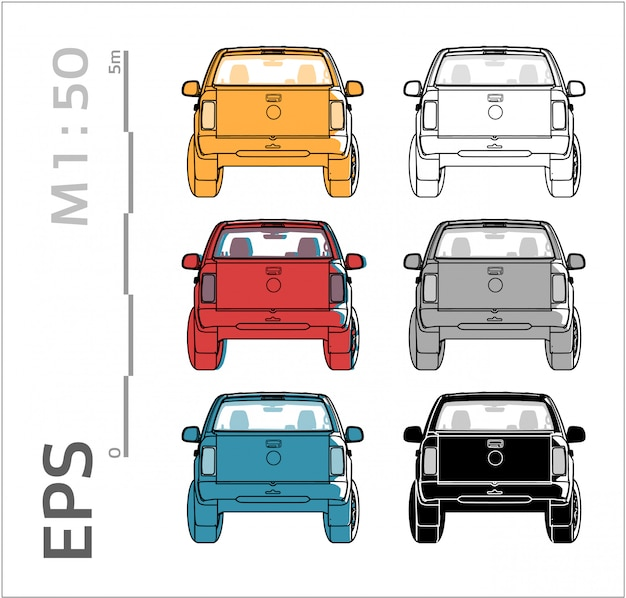 Car vector set for drawing, back views
