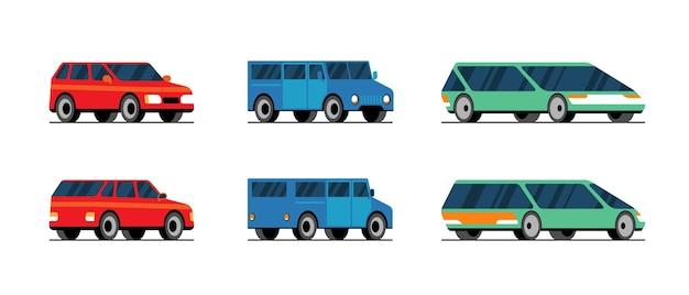 Шаблон вектор автомобилей на белом фоне. концепция транспортного обслуживания автомобильный гараж. иллюстрация плоского транспортного средства