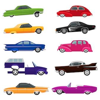 Car vector vintage low rider auto and retro old automobile transport illustration set