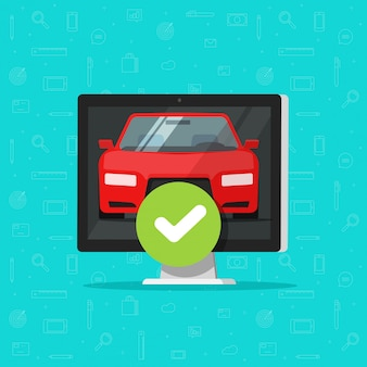 Car or vehicle and approved checkmark on computer or automobile tick approved diagnostic