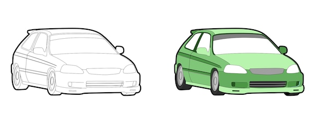 Car vehicle cartoon coloring page for kids