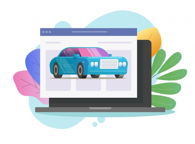 Car vehicle online service shop icon vector on laptop computer internet web page